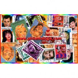 Artistes de cinéma timbres thématiques tous différents.