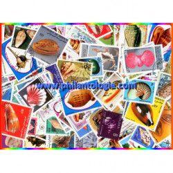 Coquillages timbres thématiques tous différents.