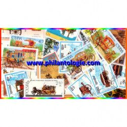 Attelages timbres thématiques tous différents.
