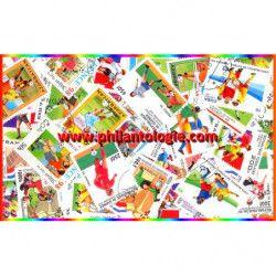 Coupe du monde France 98 timbres thématiques tous différents.