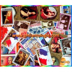 Histoire de France timbres thématiques tous différents.