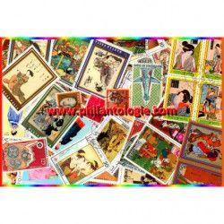 Art Japonais timbres thématiques tous différents.