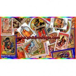 Pâques timbres thématiques tous différents.