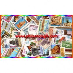 Temples, Mosquées 50 timbres thématiques tous différents.