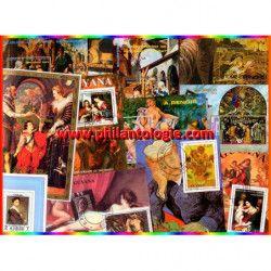 Tableaux blocs-feuillets de timbres thématiques.