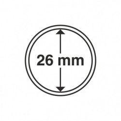 Capsules numismatiques rondes 26 mm pour monnaies de collection.