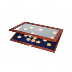 Vitrine en bois massif pour 35 médailles-souvenir, jetons touristiques.