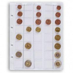 Feuilles numismatiques Optima pour 5 jeux complets de pièces d'euros.