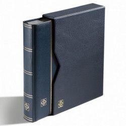 Classeur à bandes Premium cuir pour timbres 64 pages noires avec étui.
