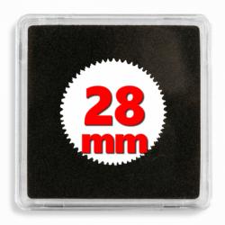 Capsules numismatiques carrées Quadrum 28 mm.