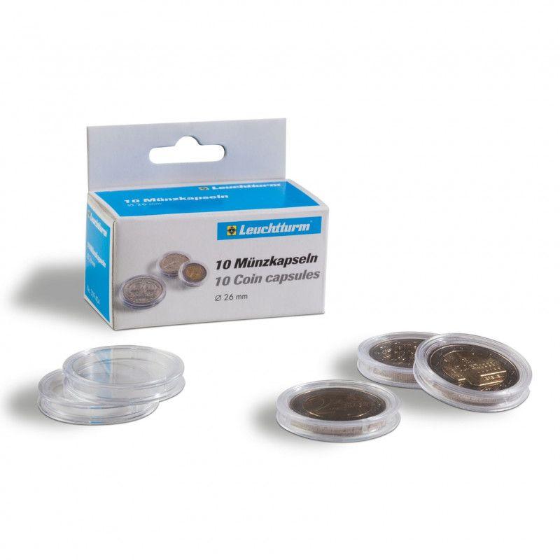 Capsules numismatiques rondes pour pièces de 2 euros commémoratives.