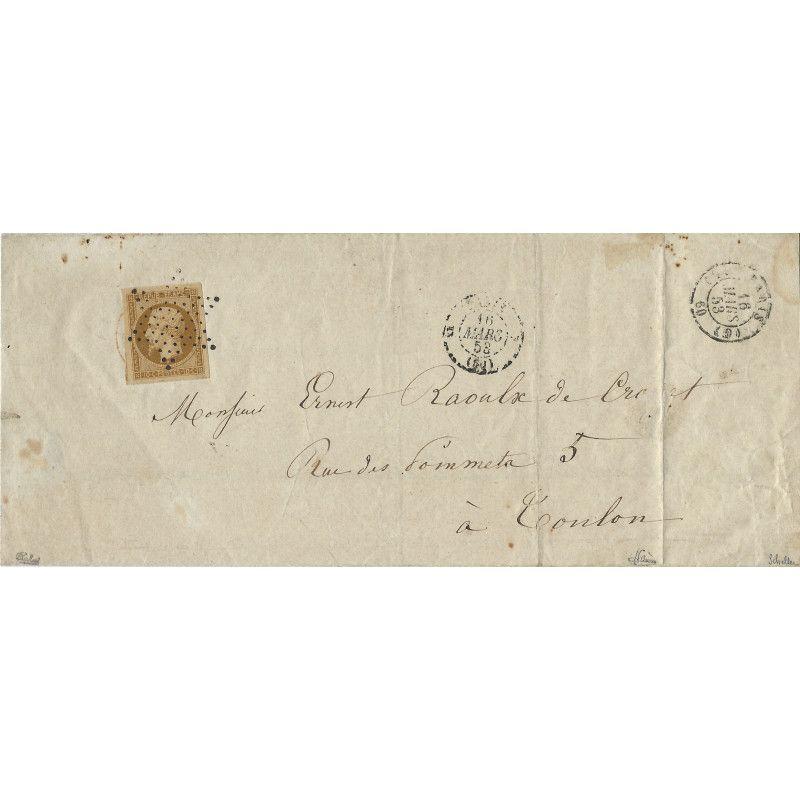 Présidence N°9 sur lettre avec cachet rouge des imprimées en dessous de timbre. Unique.