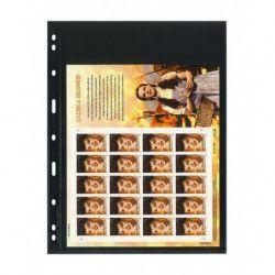 Feuilles Uniplate Lindner noires à 1 bande pour mini-feuilles de timbres.