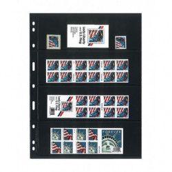 Feuilles Uniplate Lindner noires à 4 bandes pour timbres-postes.