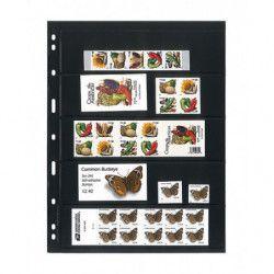 Feuilles Uniplate Lindner noires à 5 bandes pour timbres-postes.
