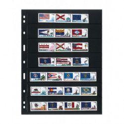 Feuilles Uniplate Lindner noires à 7 bandes pour timbres-postes.