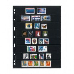 Feuilles Uniplate Lindner noires à 8 bandes pour timbres-postes.