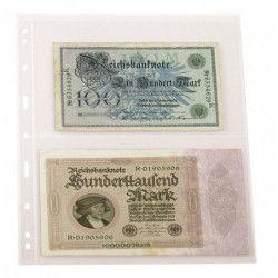 Feuilles Uniplate Lindner transparentes à 2 bandes pour billets de banque.
