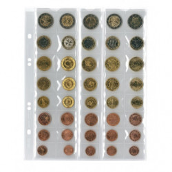 Feuilles numismatiques Multi-Collect pour 5 séries de 8 pièces euro.