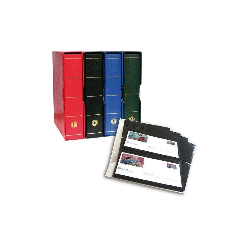 Album Futura Classique garni de 10 recharges E2 à 2 poches pour enveloppes.