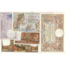 France 5 billets de banque anciens tous différents.