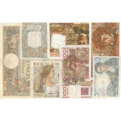 France 7 billets de banque anciens tous différents.