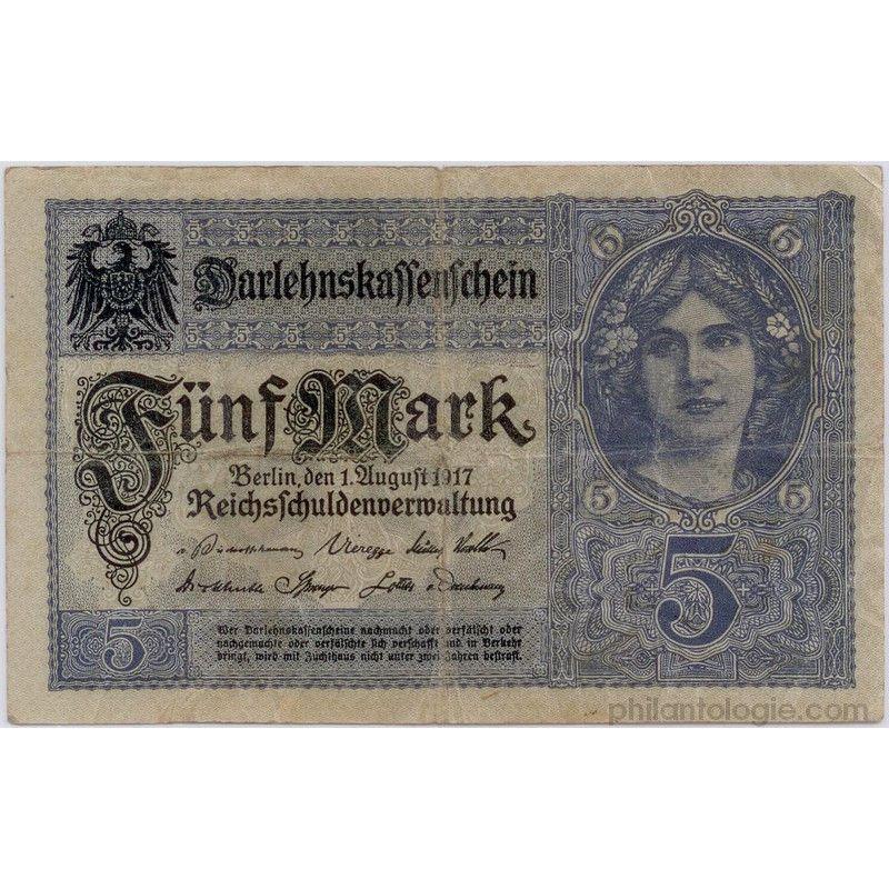 Allemagne 5 billets de banque anciens tous différents.