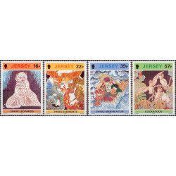 Artistes de Jersey - Batiks timbres N°575-578 neuf** SUP.