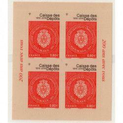 """Bloc autoadhésif """"Bicentenaire de la Caisse des dépôts"""" deuxième tirage."""