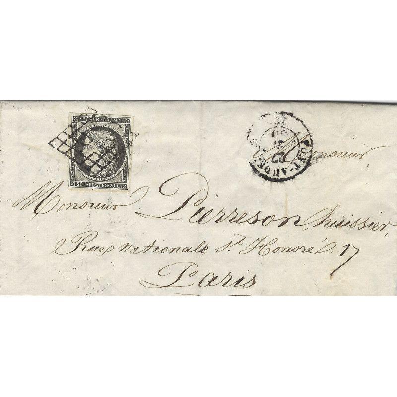 Cérès N°3c gris-noir oblitéré grille sur pli de 1850, SUP. R