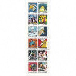 Carnet commémoratif de timbres La communication en bandes dessinées 1988.
