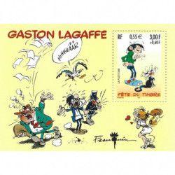"""Bloc-feuillet de timbre de France N° 34 """"Gaston Lagaffe"""" neuf**, SUP."""