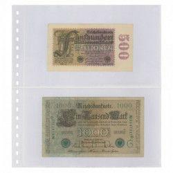 Feuilles transparentes Lindner à 2 poches pour billets de banque. (830)