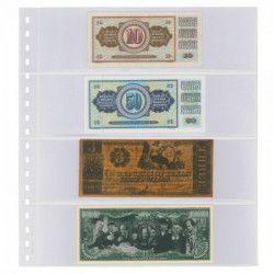 Feuilles transparentes Lindner à 4 poches pour billets de banque. (832)