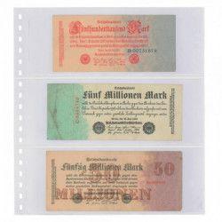 Feuilles transparentes Lindner à 3 poches pour billets de banque. (851)