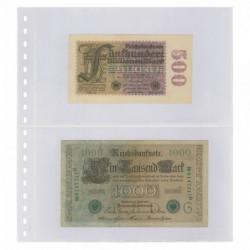 Feuilles transparentes Lindner à 2 poches pour billets de banque. (850)
