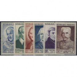 Célébrités 1953, timbres de France N°940-945 série Neuf** SUP.