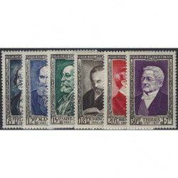 Célébrités 1952, timbres de France N°930-935 série Neuf** SUP.