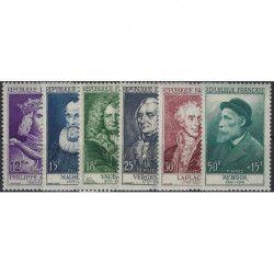 Célébrités 1955, timbres de France N°1027-1032 série Neuf** SUP.