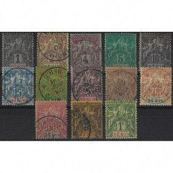 Bénin 1894 timbres n° 33-45 série oblitéré TB / SUP.