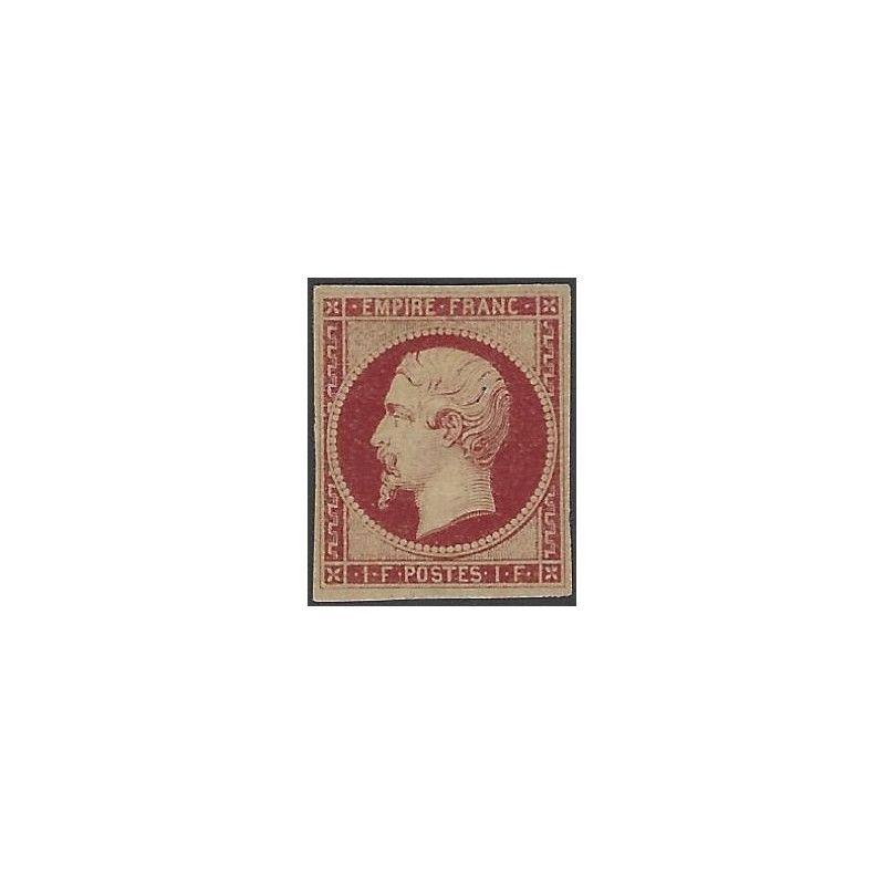 Empire non dentelé 1 franc carmin timbre de France N° 18 a neuf* TB. RR