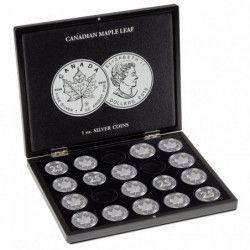 """Coffret noir pour 20 pièces de 1 once argent """"MapleLeaf""""."""