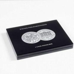 """Coffret noir pour 20 pièces de 1 once argent """"PhilharmoniquedeVienne""""."""