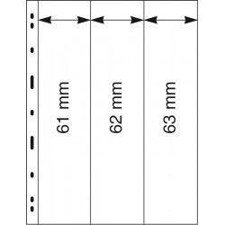 Feuilles Uniplate Lindner transparentes à 3 bandes pour carnets de timbres-postes.