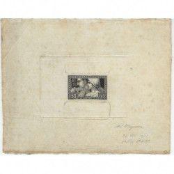 Le travail timbre de France N°252 épreuve d'artiste noire, RR.