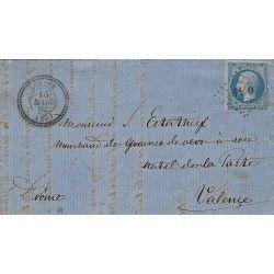 Petits chiffres 4440 sur pli d'Aouste pour Valence 1862, SUP. R