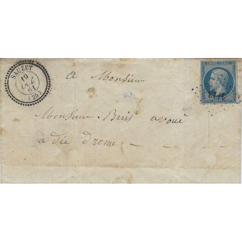 Petits chiffres 4113 sur pli de Sauzet pour Die 1861, TB. R