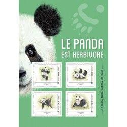 """Collector de 4 timbres lettre verte """"Le Panda"""" autoadhésifs."""