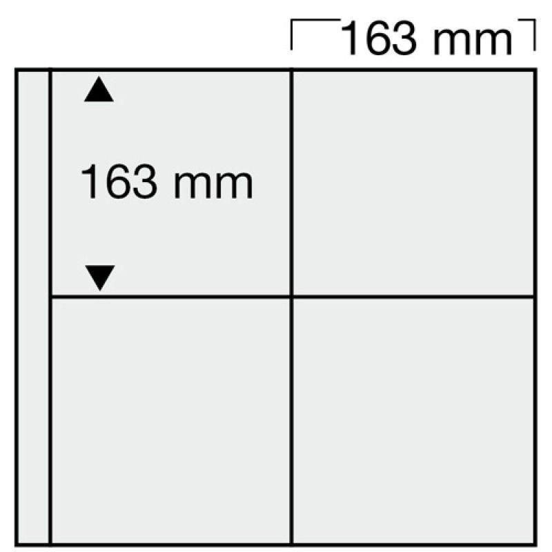 Feuilles blanches SAFE 6025 pour 8 cartes, enveloppes 163 x 163 mm.