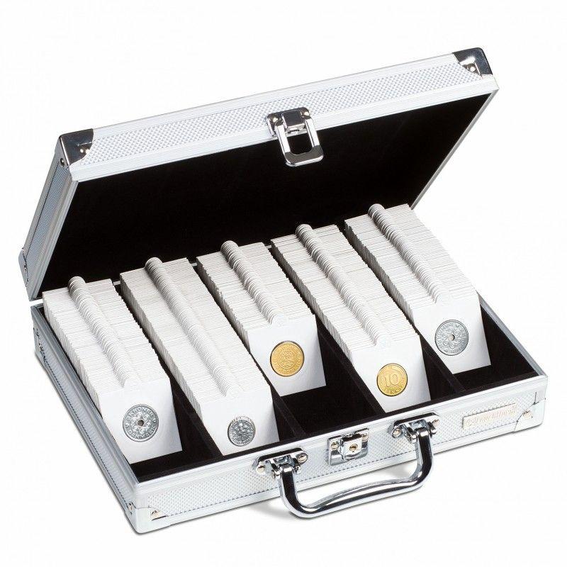 Coffret pour 650 étuis cartonnés pour monnaies de collection.